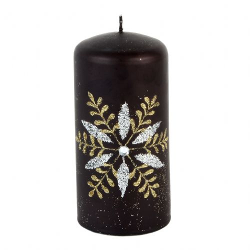 Black Christmas & Halloween Pillar Candle Embellished With Gold & Diamante